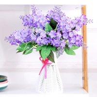 Couronnes de fleurs décoratives 5 fourchettes / bouquet bouquet de lavande artificielle Provence fausse fleur de soie verte de la soie verte pour la fête de la maison mariage d mariage d