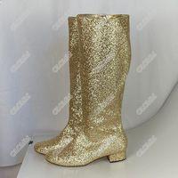 Top Quality Olomm Nova Moda Mulheres Joelho Alta Glitter Botas Quadrado Botinhas Botinhas Botas Redonda Toe Silver Club Wear Sapatos Mulheres