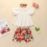 Born Summer Clothes Infant Baby Girls Short Sleeve Tops Floral Print+Shorts Hairband Outfits Set Shorts Clothing Outfits#45 Sets