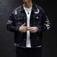 Men's Jackets Denim Jacket Men Women Hiphop Streetwear Punk Rave Steampunk Motorcycle Cowboy Graffiti Ripped Outwear Brand Jeans