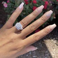 럭셔리 925 스털링 실버 포장 4pcs 공주 - 컷 소나 다이아몬드 결혼식 링 여성을위한 모순 된 백금 보석 소녀 선물