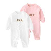 Neue 2021summe Mode Brief Baby Junge Kleidung Weiß Rosa Grün Langarm Marke Neugeborene Baby Mädchen Strampler 0-24 Monate