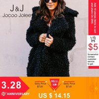 Jocoo jolee Женщины Европа Стиль Пушистые Искусственные Мехи Куртки Женщина Утолщение Зима Поддельный Мех Розовый Черный Пальто Модные Кардиган Партия Q40V #