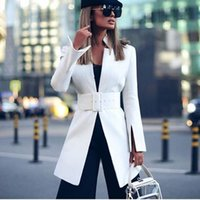 Autumn simple and handsome blazers stand-up collar women casual loose oversized sashes blazer dress jacket long sleeve