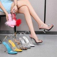 Sandals Clear PVC прозрачный сексуальный горнолыжный ремешок пряжки тонкий каблук высокие каблуки opentoes женская вечеринка обувь ночной клуб насосы черный красный