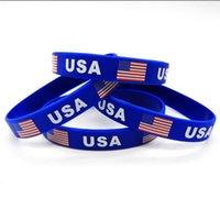 Simple Party Holiday Gifts Sports Basketblå Blue Black Trump American Flag Wristband Silikon Armband Unisex ren färgutskrift