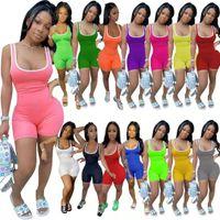 Talla grande Mujeres sexy sling mansiones diseñador de verano Modismo sólido Color sólido Pantalones sin mangas Pantalones deportivos Rompers Club Moda apretada Monos Pantalones 849