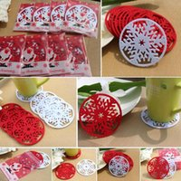 Table Runner 10PCS Cup Pad Snowflake Insulation Xmas Decoration Christmas Decor Mat Heat For In