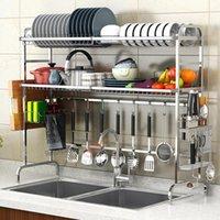 Kitchen Storage & Organization 304 Stainless Steel Sink Bowl Rack Drain Supplies 2 Layer Pool Drying Dish