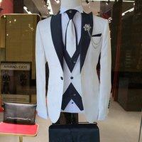 Costumes hommes blazers 2021 est costume blanc costume homme 3 pièces homme de mariage ensembles de mode veste de mode veste gilet bleus bleus robe tuxedo