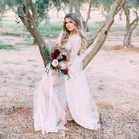 Boho Wedding Dresses Bridal Gowns Lace Top Half Sleeve Soft Tulle Skirt A Line High Split Floor Length Bohemian Vestido de Nova 2022 Spring Garden