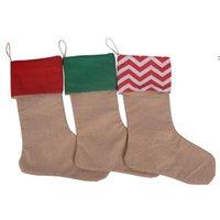 Чистые льняные рождественские чулки ребенка подарочные сумки рождественские чулки орнамент большого размера простой мешковины декоративные носки подвеска домашняя вечеринка OWF9216