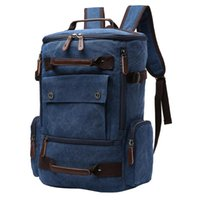 Backpack Men Students Top Handle Laptop Camping Canvas Multi Pocket School Bag Zipper Closure Large Capacity Travel With Button