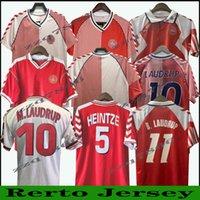 1986 الدنمارك كأس العالم Laudrup الرجعية Soccer Jersey 86 91 المنتخب الوطني Home Away red Michael Elkjær Berggreen خمر كلاسيكي لكرة القدم قميص