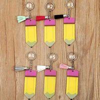 Персонализированные пустые буквы Tassel Key Кольцо Учитель День Дара Подарки Карандаш Ключ Цепь Акриловые Студент Детские Брелки Домарные декор G72KX5P