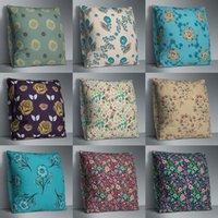 Cushion Decorative Pillow 45*45cm Case Floral Coloful Throw Pillowcases Square Sham Burlap For Living Room