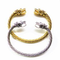 Men's bracelet Bangle goods retro North Ou Lead Wolf head opening jewelry boy gift silver gold black color