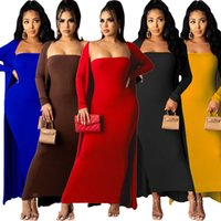 Women Two Piece Dresses Fashion Clothes Soild Colors Long Sleeve And Long Dress Sexy Bra Dress Coat Spring And Autumn The New Listing