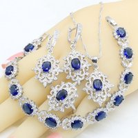 Earrings & Necklace Silver Color Bridal Jewelry Sets For Women Blue Crystal Bracelet Pendant Ring Wedding Gift Box