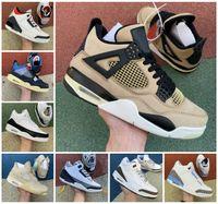 Unpeateded X Travis Scotts 4S 4 Mens Basketbal Schoenen 3 Bred Cement Rasta Raptors White Sail Retoes Varsity Royal Outdoor Designers Fragment Sneakers