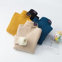 Pullover Baby Sweater Girl Casual Solid Turtleneck Knitted Bottoming Shirt Autumn Winter Long Sleeve Kids Boys Clothes Childrens