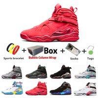 2021 с коробкой Multi-Color Jumpman 8 VIII 8s Мужчины баскетбольные ботинки Aqua Reflectiver Quai 54 RAID трех торф на южном пляже Chrome Valentine's Daymens спортивные кроссовки