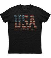 Männer t-shirts USA Liebe es oder verlassen amerikanische Flagge gedrucktes patriotisches schwarzes T-Shirt
