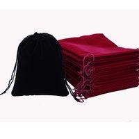 Velvet Studka 12x10cm Torba Biżuteria Czarne Boże Narodzenie / Wedding Torby Prezentowe Z Sznurkiem Pakowanie biżuterii Wouch Cały 100 sztuk