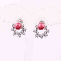 Trendy Women Copper Studs Earrings Red Pearl Beads And Sparkling Crystals Circle Attractive Jewelry Design Drop