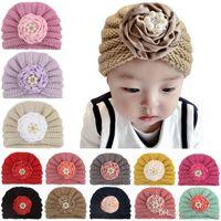 Baby Girls Knit Hats 13 Colors Ribbon Plate Flower Crochet Hats Newborn Hat Boys Winter Caps 07
