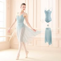 Stegslitage Kvinnor Dans Leotard Ballett Pläterad V-Neck Bodysuit Oregelbundet Mesh Skirt Teen Training Gymnastik Skating Ballerina Dancewear