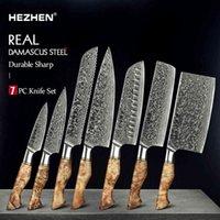 HEZHEN 1-7PC SET Professionelle Damaskus-Stahl-Chef-Brot-Paring Santoku Sharp Nakiri-Kochküchenmesser