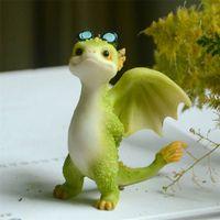 Collezione di tutti i giorni Simulazione in resina Magic Animal Dragon Dinosaur Miniatura Fata Giardino Terrario Bonsai Decor Dragon Figurine 210910