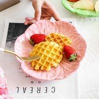 Platos platos repollo placa de cerámica floral ensalada redonda cuenco de porcelana cena carne fruta bandeja bocadillo decorativo
