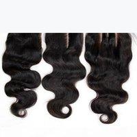 7А дешевые кружевные замыкание 4x4 малазийская девственница волна тела человеческие волосы верхние кружева закрывают кусочки свободный средний 3-х час часть естественный цвет