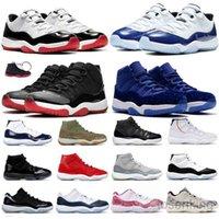 Box 11 Mens Basketballs Shoes 2016 공간 잼 45 체육관 레드 특허 가죽 + 나일론 블랙 콩코드 11S 여성 트레이너 자정 KH-9N