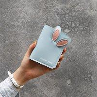 محفظة المرأة قصيرة غلق بمشبك الأذنين الأرنب تصميم الإناث ثلاثي أضعاف بلون عملة المحافظ السيدات أزياء بطاقة حامل مخلب المال كليب