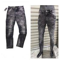 21 ss männer klassische jeans designer graue slim bein gst hosen mann biker hosen herren mode beiläufig reife trendy denim pant rock revival jean