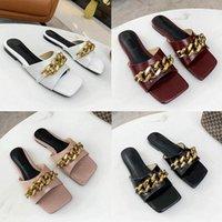 Classics 2021 Mujer zapatillas de cuero Sandalias planas de diseño de alta calidad Moda antideslizante Zapatos de goma de lujo sin deslizamiento cómodo zapato suave LDK