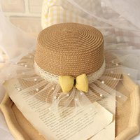 Caps & Hats Ma&Baby 2-6Y Summer Kid Girls Straw Hat Lace Pearl Ruffles Boho Travel Holiday Accessories DD407