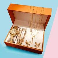 Diseñador de lujo marca relojes es conjunto mujeres diamante diamantes de imitación cuarzo creativo hojas collar pulseras pendientes regalos conjuntos para
