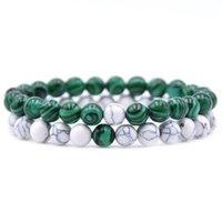 Pcs Set Healing Crystals Natural Stone Beaded Bracelets White Howlite Rosary Beads Couples Bracelet Women Mens DKB0119 Beaded, Strands