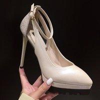 Dress Shoes 2021 Women Ankle Strap12.5cm High Heels Sandals Apricot Pointed Toe Sandles Purple Leather Platform Exotic Dancer