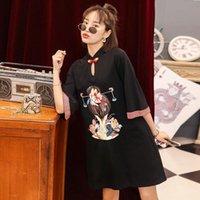 Casual Dresses Chinese Style Improved Cheongsam Qipao Plus Size Modern 2021 Young Girls Silk Dress Women Summer Short 5xl