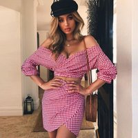 Women's Two Piece Pants Plaid Women Chiffon Dresses Sets Sexy Off Shoulder Long Sleeve + Mini Skirts Summer Holiday Beach Casual Outfits Mat