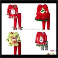 Sets Clothing Baby, Kids & Maternity Drop Delivery 2021 Christmas Clothes Sanda Reindeer Tree Pattern Long Sleeve T-Shirt Dress And Pants Two