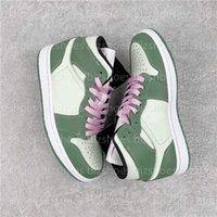 1 MID SE Hollanda Yeşil Kadın Basketbol Ayakkabıları Pembe Beyaz Balıkçıl 1 S Spor Sneakers CZ0774-300 Casual Trainers