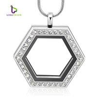 Горячие продажи новизны шестиугольника сердца магнитный кристалл DIY плавающая память живой медальон кулон подарок для девочек женщины дочь с PRSKL 834 Q2
