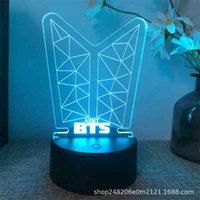 3D ضوء الليل BTS أسود USBLI اللمس الملونة التحكم عن الصمام النوم هدية السرير مصباح