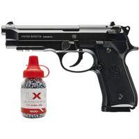 Umarex beretta pienamente autorizzato 92a1 CO2 in metallo full metalli / full Auto Blowback Airgun nero con gratis 1500 .177 Placca da parete in metallo pistola